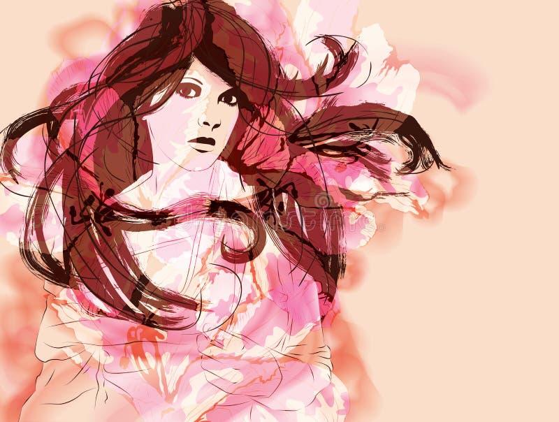 Mulher abstrata cor-de-rosa com cabelo longo ilustração royalty free