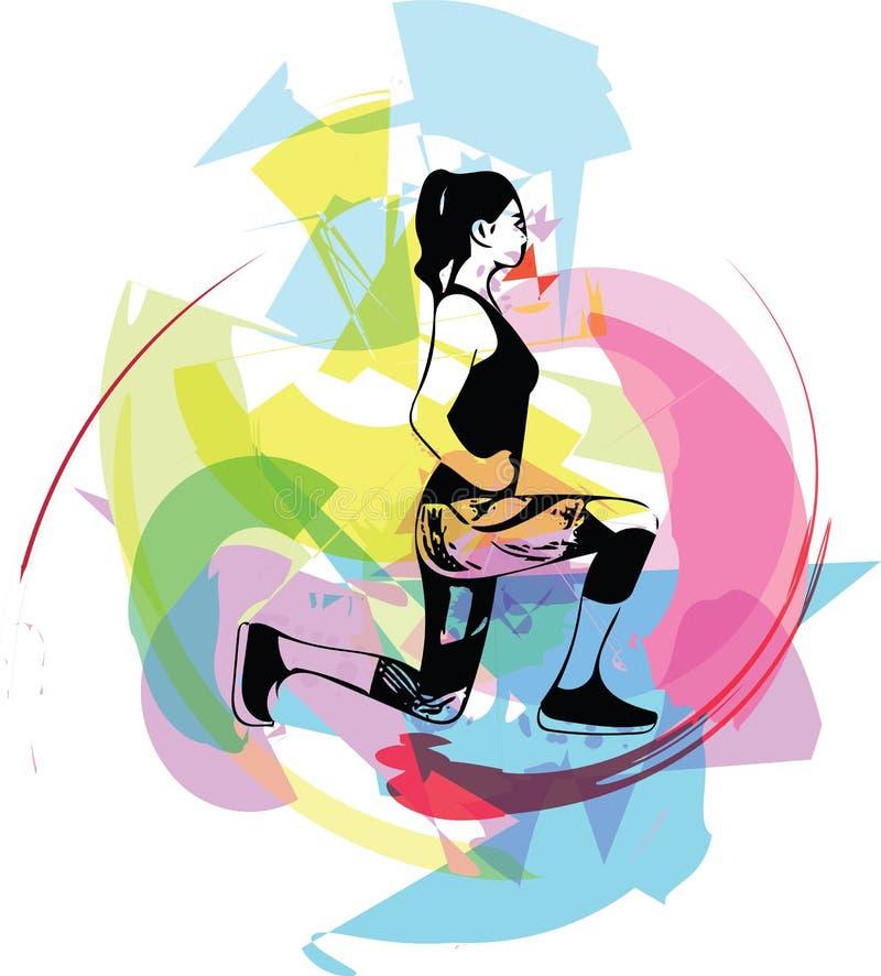 Mulher abstrata da aptidão, corpo fêmea treinado ilustração royalty free