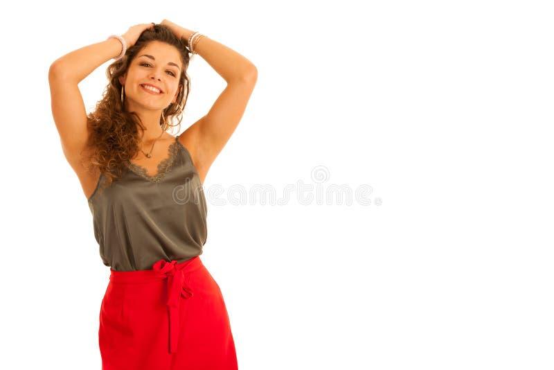 Mulher adolescente bonita atrativa no isolat ocasional do vestido do verão fotografia de stock royalty free