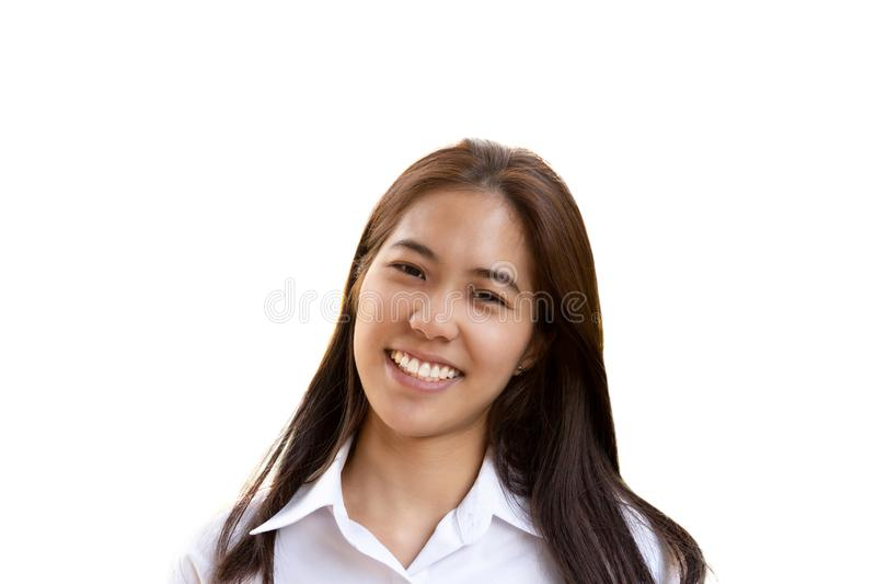 Mulher adolescente com o sorriso perfeito que olha a câmera isolada fotos de stock royalty free