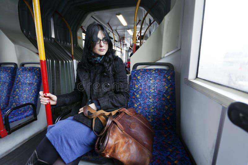 Mulher do ônibus imagem de stock