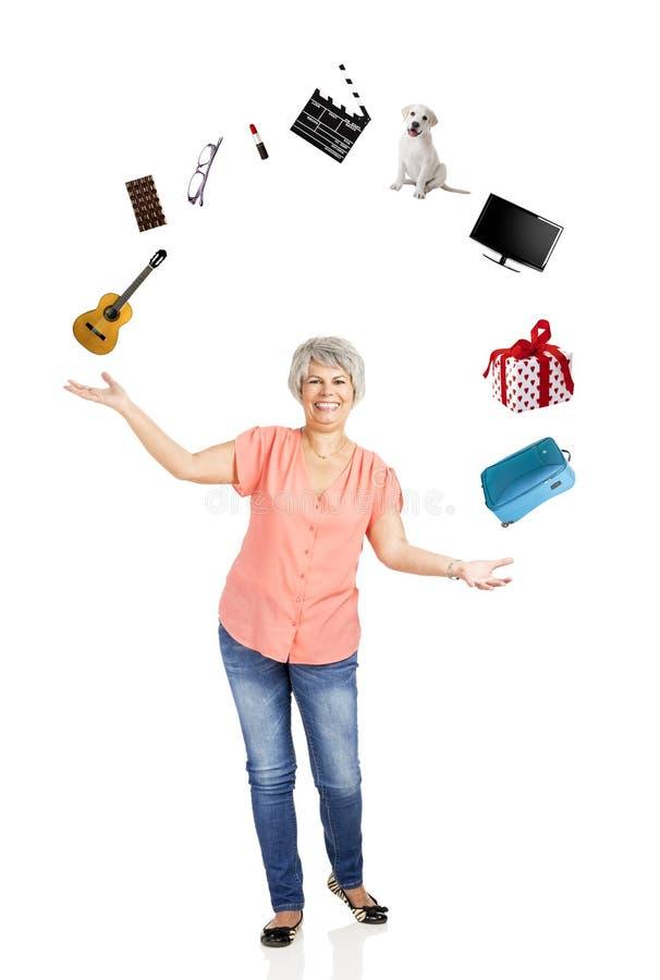 Mulher adulta feliz fotos de stock royalty free