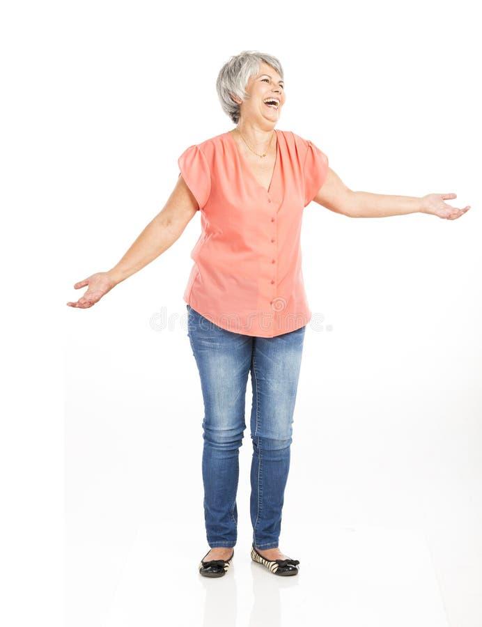 Mulher adulta feliz fotografia de stock royalty free