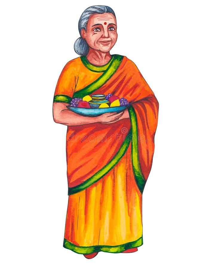 Mulher adulta indiana, mulher idosa com fruto no prato ilustração royalty free