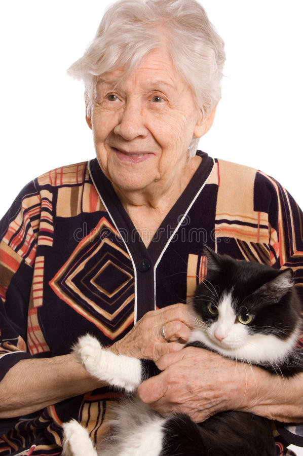 Mulher adulta isolada no branco e no gato imagens de stock royalty free