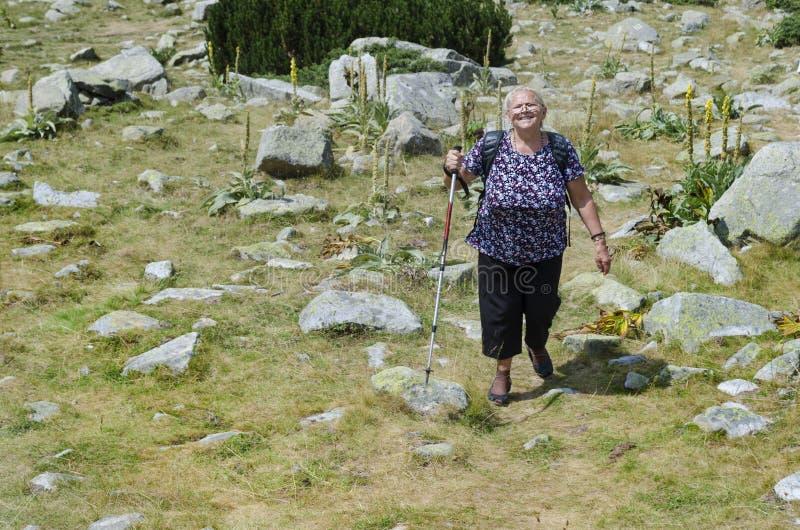 Mulher adulta que caminha em campos da montanha imagens de stock royalty free