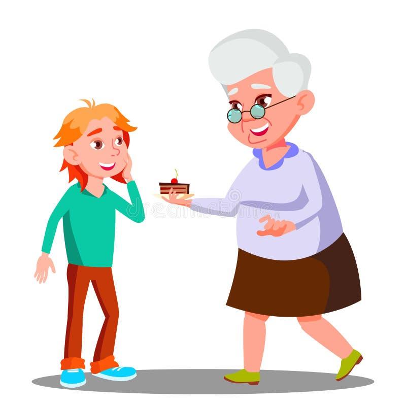 Mulher adulta que trata a criança pequena com o vetor das cookies Ilustração isolada ilustração stock