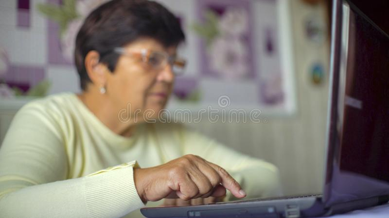 Mulher adulta superior nos monóculos que surfam o Internet no portátil em casa com espaço livre e espaço da cópia imagens de stock royalty free