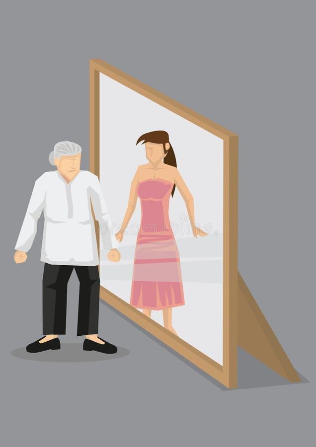 A mulher adulta vê-se como a jovem mulher no vetor dos desenhos animados do espelho mim ilustração royalty free