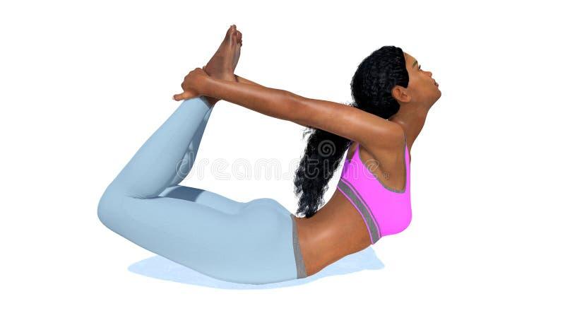 Mulher africana desportiva nova na ioga da pose da curva ilustração stock