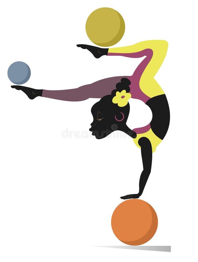 A mulher africana faz exercícios com a ilustração do vetor das bolas ilustração stock