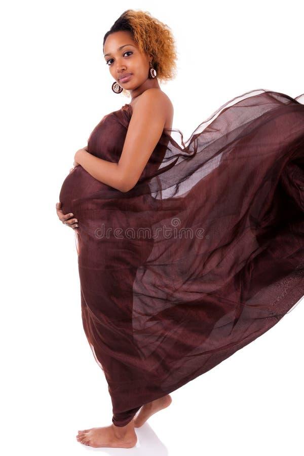 Mulher africana grávida bonita nova imagens de stock