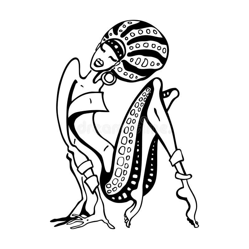 Mulher africana no estilo étnico ilustração do vetor