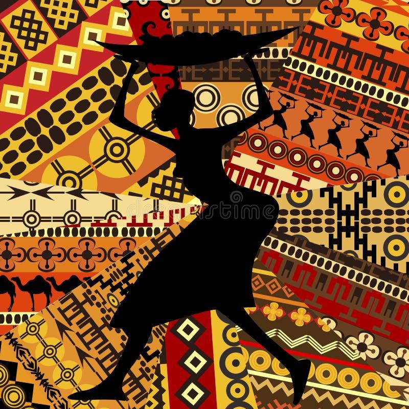 Mulher africana no fundo étnico das texturas ilustração stock