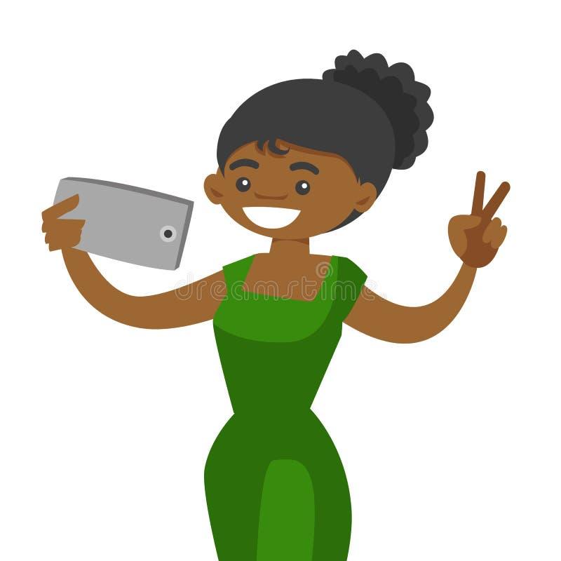 Mulher africana nova que faz o selfie com um telefone celular ilustração royalty free