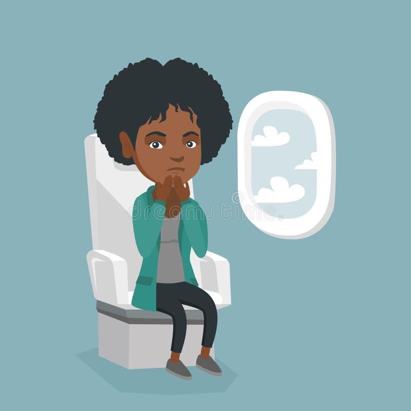 Mulher africana nova que sofre do aerophobia ilustração do vetor