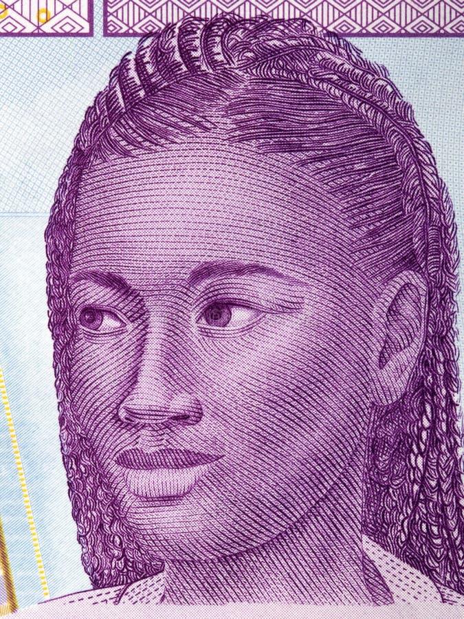 Mulher africana, um retrato do dinheiro da ?frica Central imagem de stock royalty free