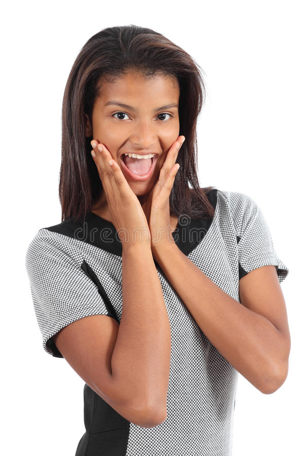 Mulher afro-americano bonita surpreendida foto de stock royalty free
