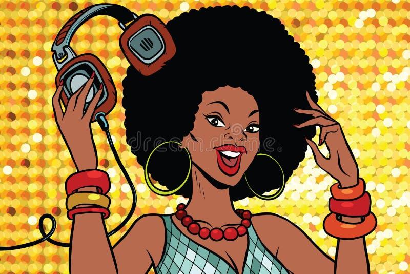Mulher afro-americano DJ com fones de ouvido ilustração do vetor