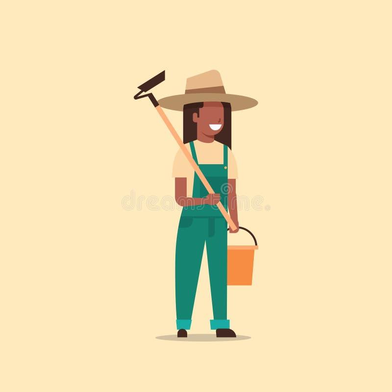 Mulher afro-americano fêmea do país da enxada e da cubeta da terra arrendada do jardineiro que trabalha no eco de jardinagem do ilustração royalty free