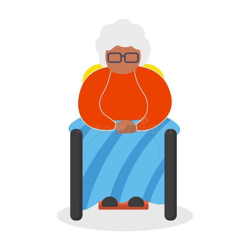 Mulher afro-americano idosa que senta-se na cadeira ilustração royalty free