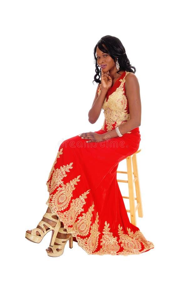 Mulher afro-americano no vestido fotos de stock royalty free