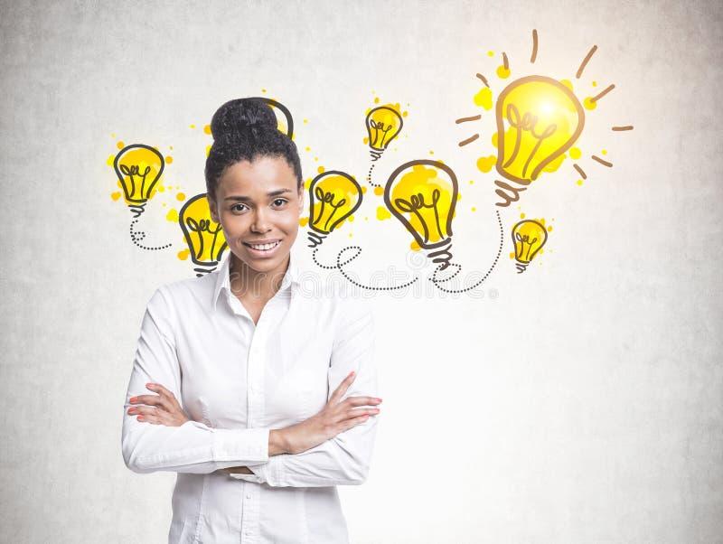 Mulher afro-americano nova alegre, ideias imagens de stock