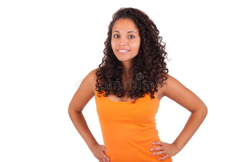 Mulher afro-americano nova com cabelo longo fotografia de stock royalty free