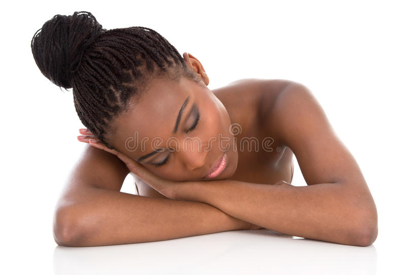 Mulher afro-americano nova do retrato - preto e branco - isolat imagens de stock royalty free
