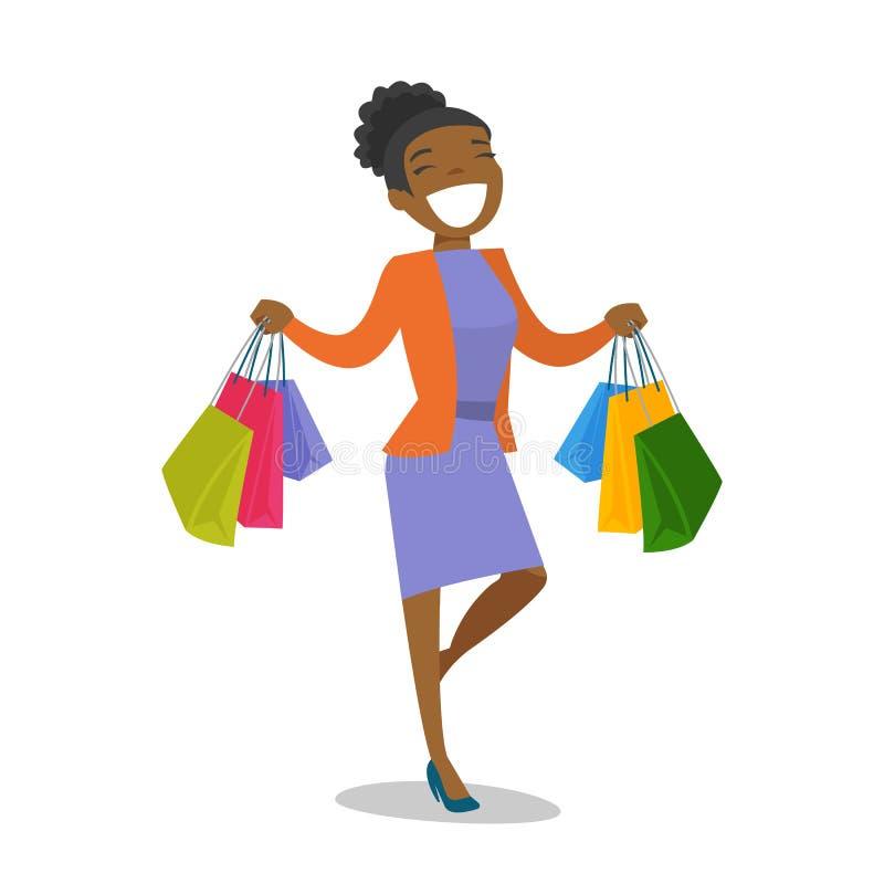 Mulher afro-americano nova que guarda sacos de compras ilustração do vetor