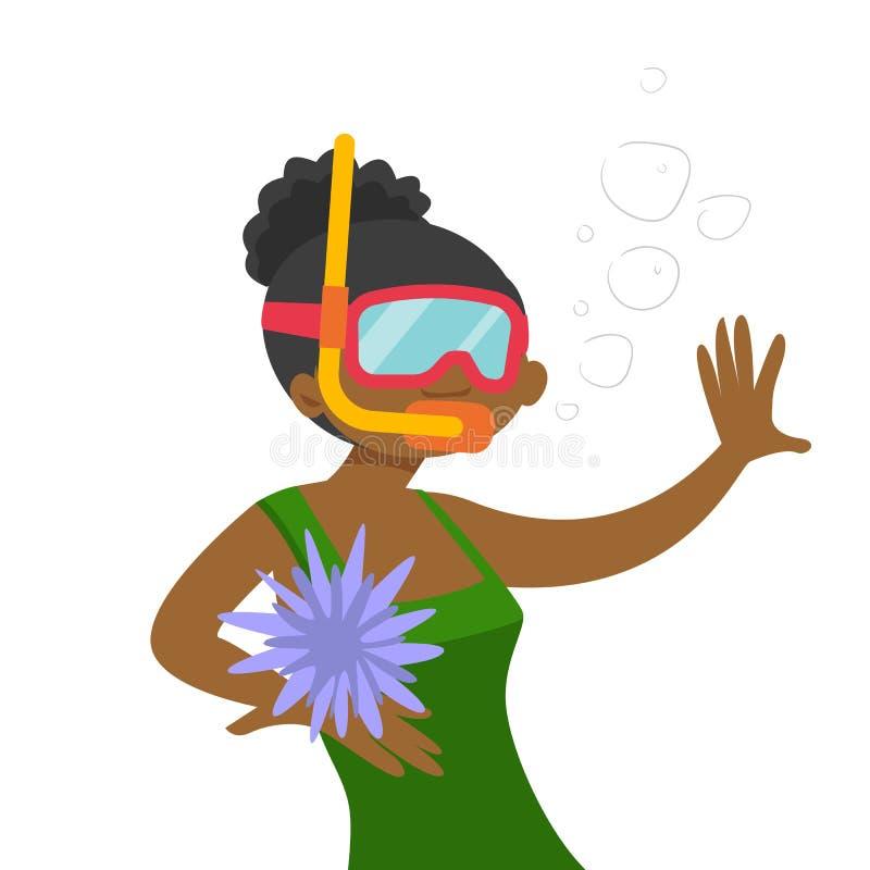 Mulher afro-americano nova que nada debaixo d'água ilustração stock