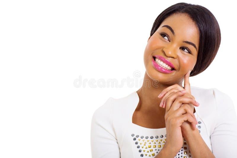 Mulher afro-americano pensativa imagem de stock royalty free