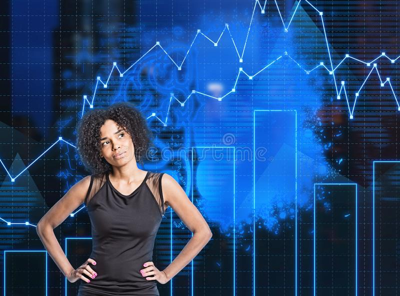 Mulher afro-americano pensativa, cérebro, gráfico imagens de stock royalty free