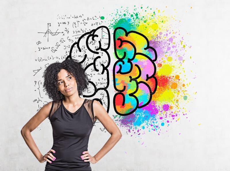 Mulher afro-americano pensativa, esboço do cérebro imagem de stock