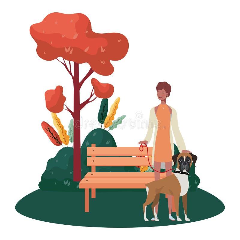 Mulher afro com cachorro bonitinho na cena do parque ilustração stock