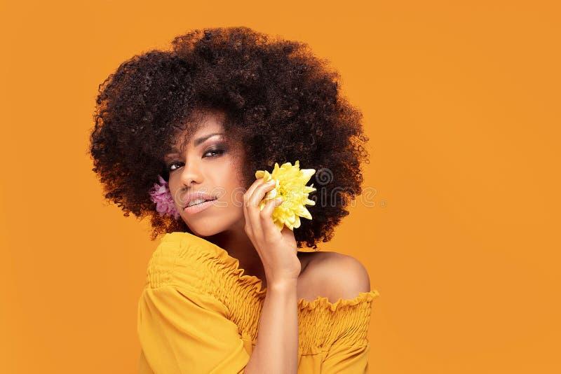 Mulher afro da beleza com flores frescas foto de stock