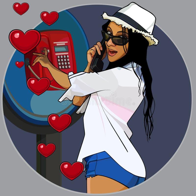 Mulher alegre loving dos desenhos animados que chama do payphone ilustração do vetor