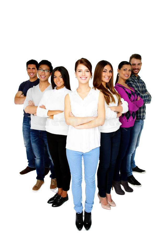 Mulher alegre que conduz sua equipe feliz foto de stock royalty free
