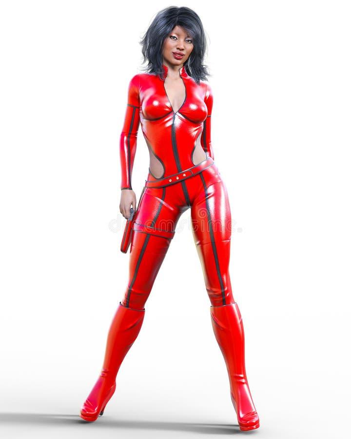Mulher alta no bodysuit vermelho de couro ilustração stock