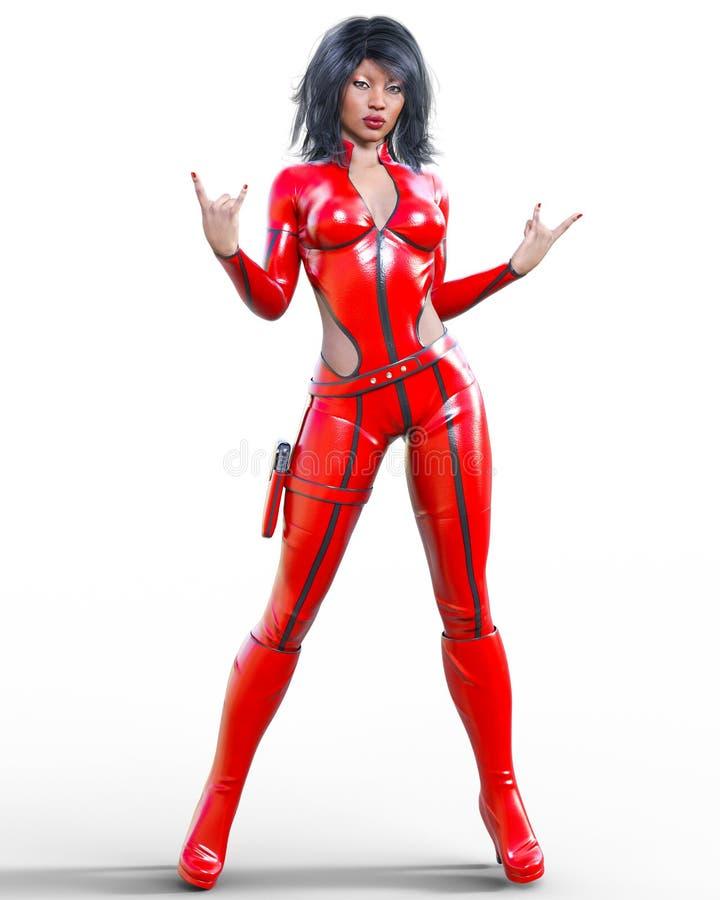 Mulher alta no bodysuit vermelho de couro ilustração do vetor