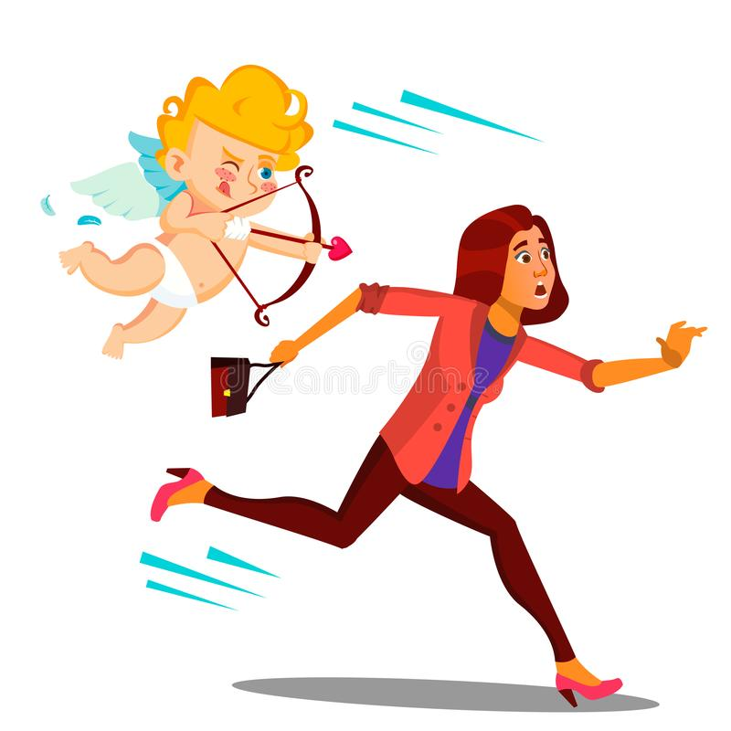 Mulher amedrontada que corre do vetor do cupido do dia do Valentim s Ilustração ilustração stock
