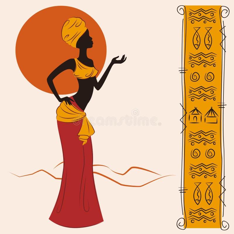 Mulher americana africana bonita ilustração stock