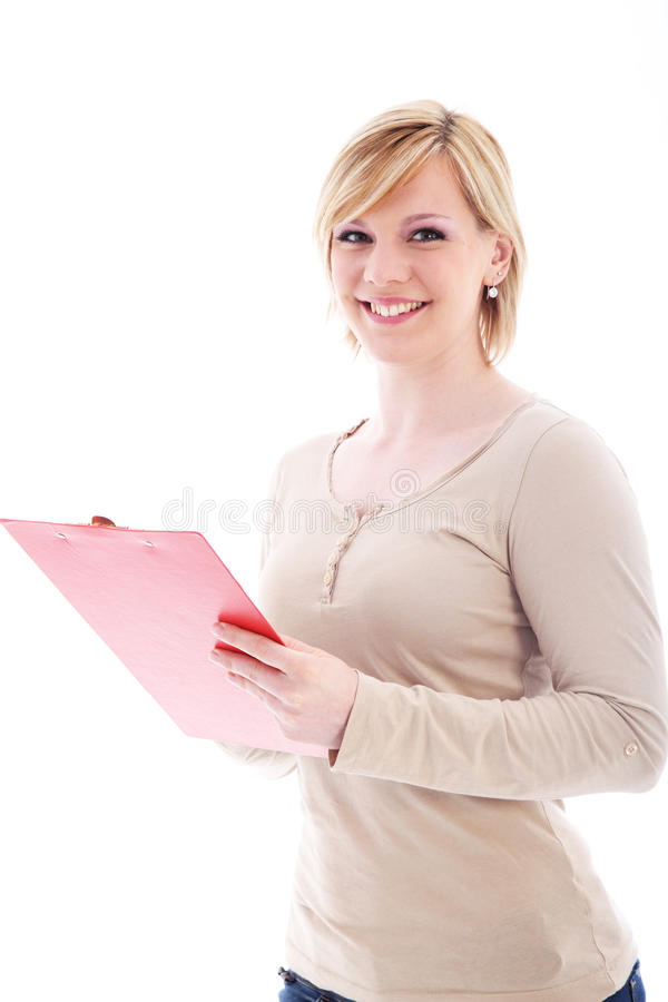 Mulher amigável que prende um dobrador vermelho fotos de stock royalty free