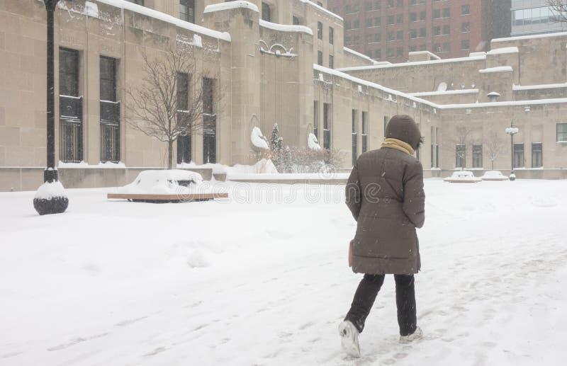 A mulher anda para trabalhar na tempestade de neve Chicago do centro do inverno fotos de stock