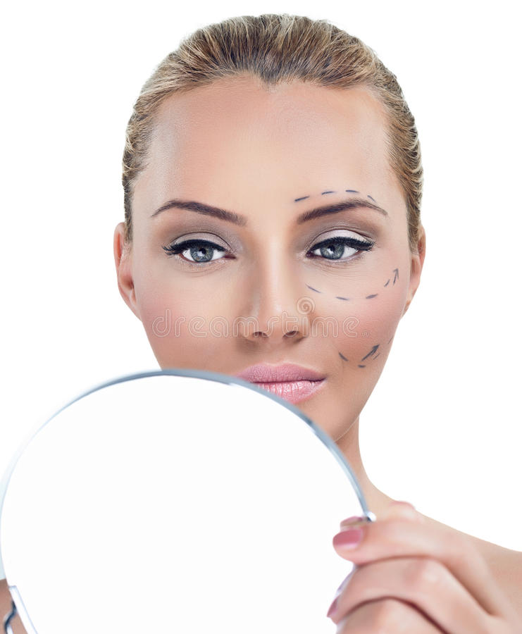 Mulher antes da cirurgia plástica fotografia de stock