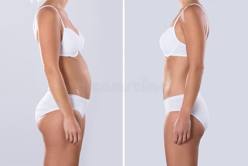 Mulher antes e depois de gordo ao conceito magro imagem de stock royalty free