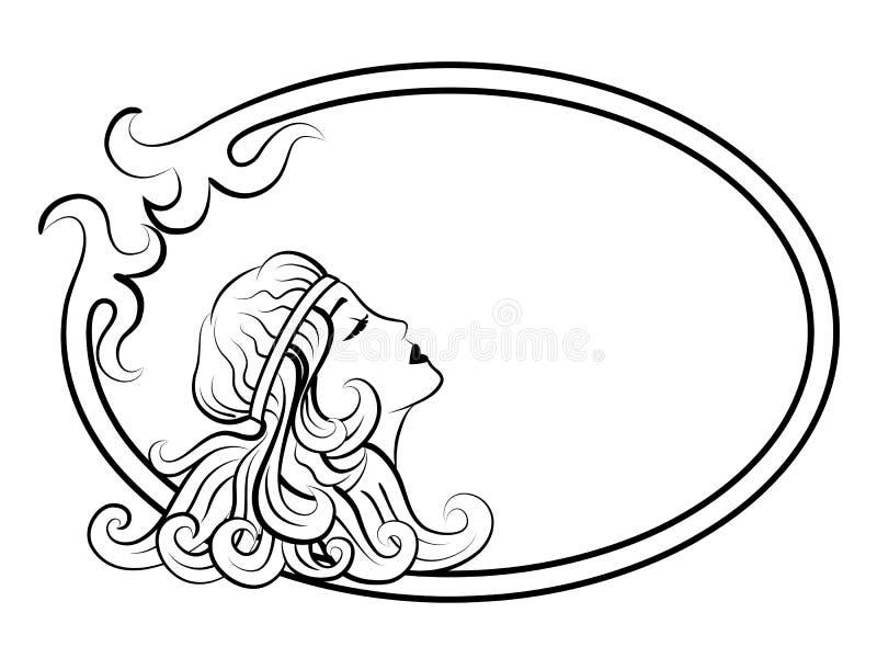 Mulher antiga bonita no quadro ilustração do vetor