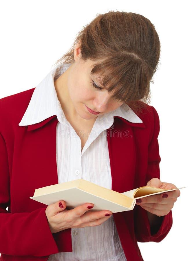 Mulher ao corrente com os índices do livro imagem de stock