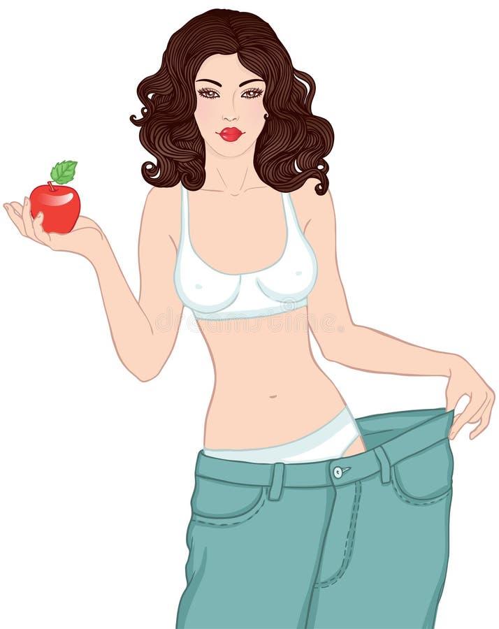 Mulher após peso perdedor que prende a maçã vermelha ilustração royalty free