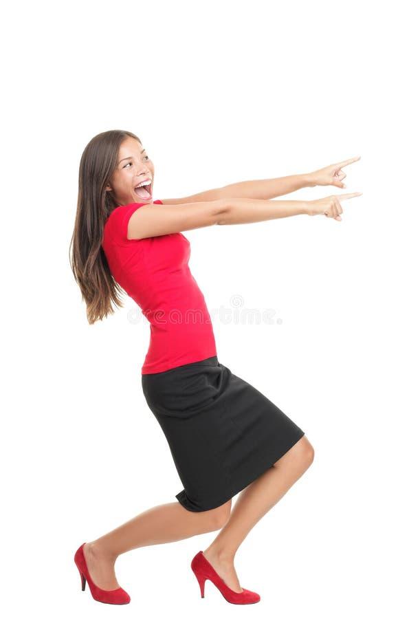 Mulher apontando imagem de stock